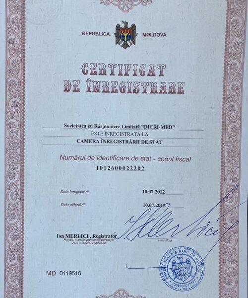 Certificat de înregistrare